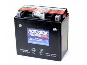 A MotoCross Yuasa YTX14-BS Motorcycle Battery